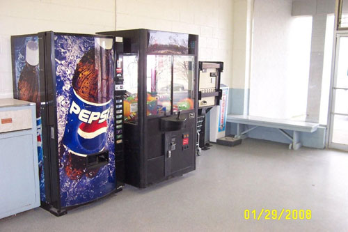 Drink vending and change machine available